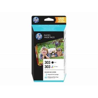 Pack HP Photo Value 2 Cartouches jet d'encre Noire et Tri-Couleur n° 303 + 40 Feuilles Papier Blanches 10X15 cm