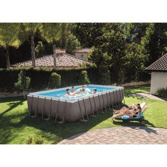 Kit piscine tubulaire Intex Ultra Silver 28362FR 7,32 x 3,66 x 1,32 m  Rectangulaire Gris foncé - Piscine - Achat   prix   fnac 081ff06792c6