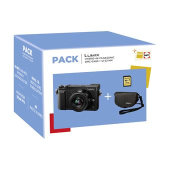 Fnac Pack Panasonic Hybride Camera GX80 Zwart + Lens 12-32mm + SD-Kaart 8GB + Draagtas