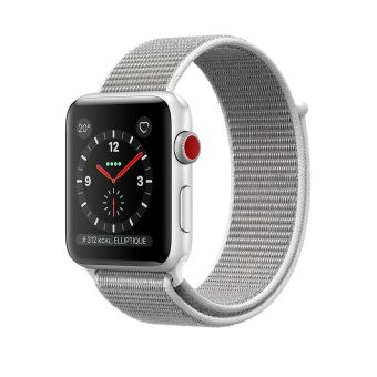 Apple Watch Series 3 Cellular 42 mm Boîtier en Aluminium Argent avec Boucle Sport Coquillage