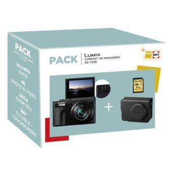 Pack Fnac Appareil Photo Compact Panasonic Lumix TZ90 Noir + Étui + Carte SD 16GB