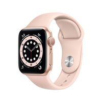 Apple Watch Series 6 GPS, 40 mm kast van goudkleurig aluminium met roze sportband