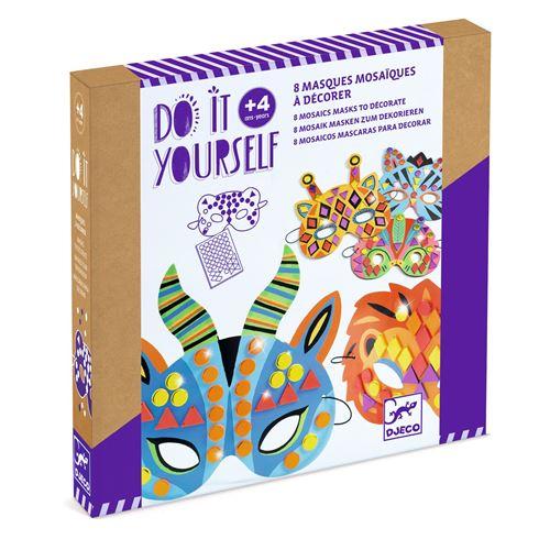 Kit créatif Djeco Masques mosaïques Animaux de jungle