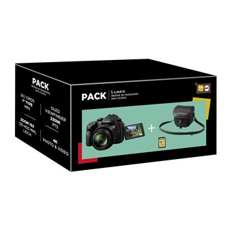Fnac Pack Panasonic Lumix Bridge Camera FZ1000 Zwart + Draagtas + SD-Kaart 8GB