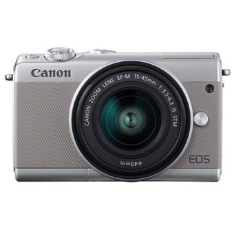 Hybride Canon EOS M100 Blanc + Objectif EF-M 15-45 mm f/3.5-6.3 IS STM + Etui + Carte mémoire SD 16 Go