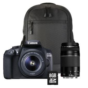 reflex canon eos 1300d + objectif 18-55 iii + 75-300 iii + sac à dos + carte sd 8go Reflex Canon EOS 1300D + Objectif 18 55 III + 75 300 III + Sac à