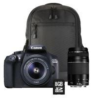 reflex canon eos 1300d + objectif 18-55 iii + 75-300 iii + sac à dos + carte sd 8go Reflex Nikon D3400 + Objectif Nikkor AF P 18 55 mm VR Noir