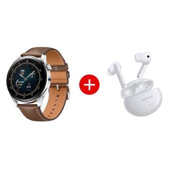 Pack Montre connectée Huawei Watch 3 Classic bracelet en cuir Marron + Ecouteurs sans fil Bluetooth avec réduction de bruit Huawei FreeBuds 4i Blanc