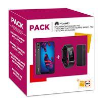 Pack Smartphone Huawei P20 Double SIM 128 Go Noir + Bracelet connecté Band 3 + Folio