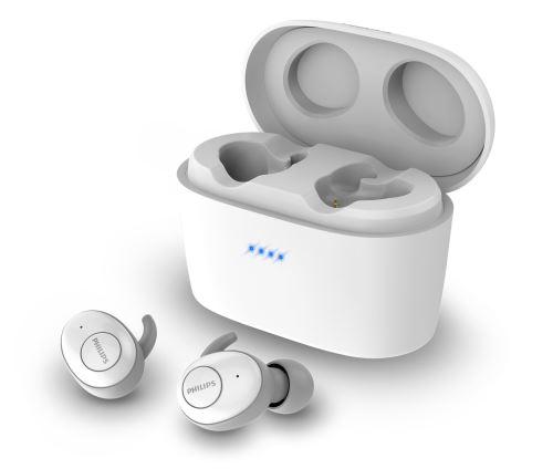 Ecouteurs sans fil True Wireless Philips SHB2515WT Blanc avec boitier de recharge jusqu'à 100h d'autonomie