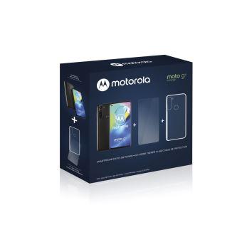 Pack Smartphone Motorola Moto G8 Power 64 Go Double SIM Noir fumé + Coque de protection Transparent + Ecran en verre trempé