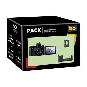 Pack Fnac Appareil photo compact Canon PowerShot G5X + Etui + Carte de mémoire SD 16 Go