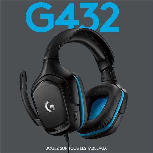 micro-casque gaming logitech g432 7.1 noir