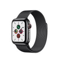 Apple Watch Series 5 Cellular 40 mm Boîtier en Acier Inoxydable Noir Sidéral avec Bracelet Milanais Noir Sidéral