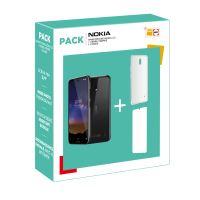 Pack Smartphone Nokia 2.2 Dual SIM 16 Go Noir + Protège-écran Muvit en verre trémpé Transparent 2.5D + Coque protectrice Muvit Transparent