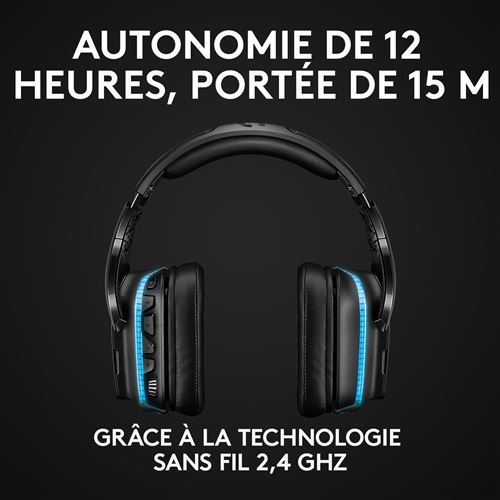 Micro casque gaming Logitech G935 7.1 Lightsync Sans Fil Noir