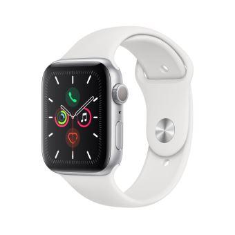 Apple Watch Series 5 GPS Aluminium Argent Bracelet Sport Blanc 44 mm