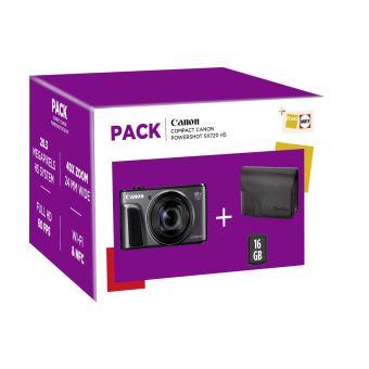 Pack Fnac Appareil photo compact Canon PF PowerShot SX 720 HS Noir + Etui + Carte mémoire SD 16 Go