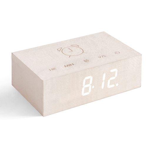 Réveil Gingko Flip Click Clock Erable Blanc