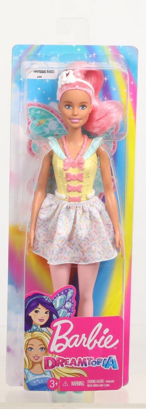 Barbie FXT03 dreamtopia Fée Poupée-Rose aux Cheveux Poupée avec robe jaune