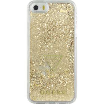 Coque rigide liquide avec paillettes dorees Gue pour iPhone 5 5S SE