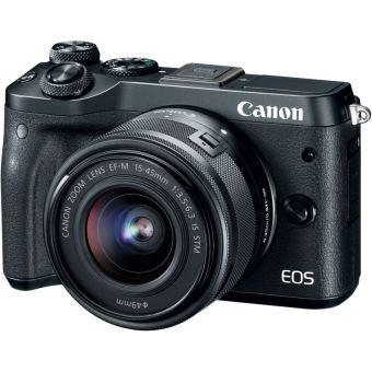 Canon EOS M6 Camera Zwart + EF-M 15-45mm f/3.5-6.3 IS STM Lens + EF-M 55-200mm f/4.5-6.3 IS STM Lens