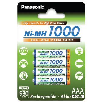 Pack de 4 piles rechargeables Panasonic Evolta AAA Ni-MH 1000 préchargées