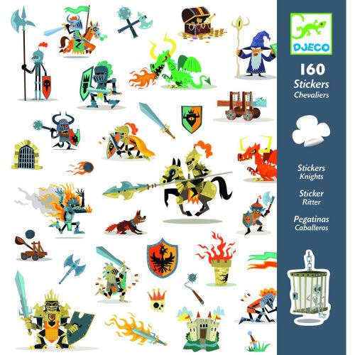 2 Planches de 160 stickers Djeco Chevaliers