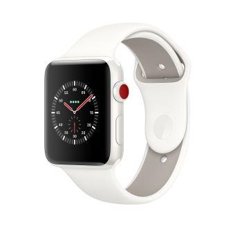 f9048ef3902ff6 Apple Watch Series 3 Cellular 42 mm Boîtier en céramique Blanc avec  Bracelet Sport Blanc coton