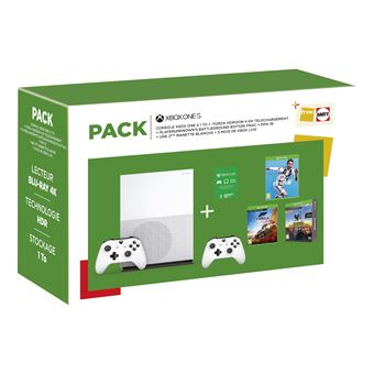 Xbox One S 1 To + 3 jeux + 2e manette + Pass Live 3 mois