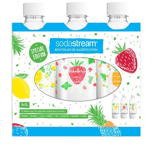 Pack de 3 bouteilles Sodastream Bulles de couleur 1L