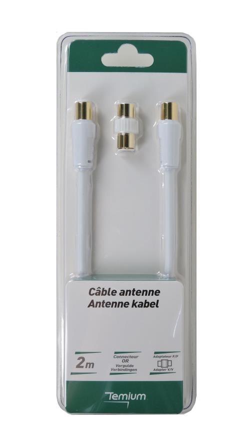 Câble d'antenne coudé Temium 2 m Blanc