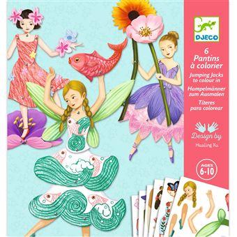 Kit créatif Djeco 6 pantins à colorier Fées