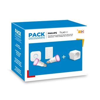 Pack Découverte Philips Hue starter kit Blanc et couleur + Prise connectée...