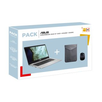 """Chromebook Asus C423NA 14"""" Tactile Intel Celeron 8 Go RAM 64 Go SSD Argent + sacoche + souris"""