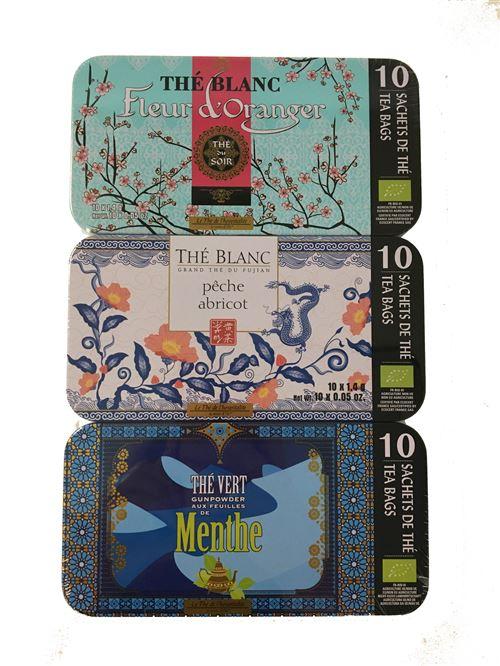 Coffret de 3 boîtes de thé vert et blanc aromatisés Terre D'oc