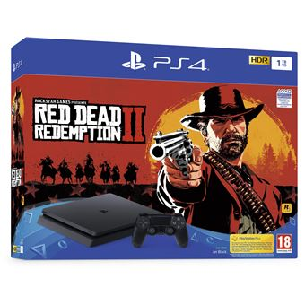 Pack Console Sony PS4 Slim 1 To Noir + Red Dead Redemption 2
