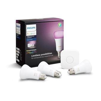Pack de démarrage Philips Hue : 3 ampoules E27 White & Colors + Pont