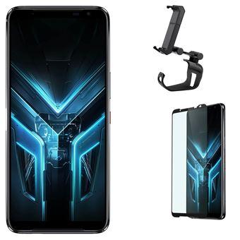 """Pack Smartphone Asus Rog 3 6.59"""" Double SIM 512 Go Noir + Support Smartphone Asus Rog Clip Noir + Protection d'écran en verre trempé"""