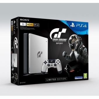 Console Sony PS4 1 To Edition Limitée Argent + Gran Turismo Sport