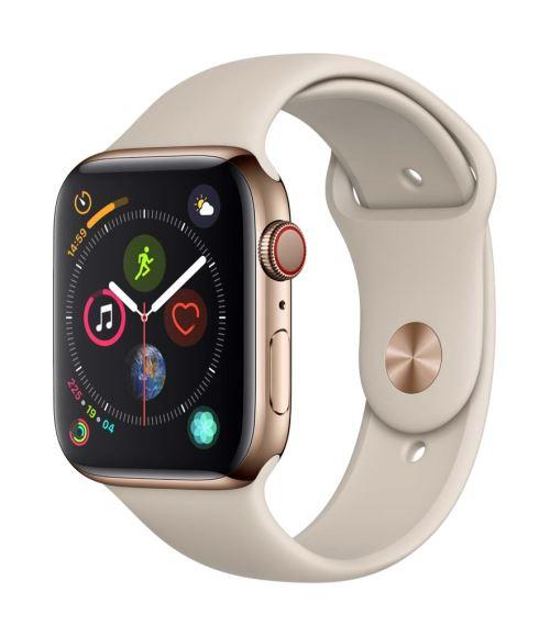 Fnac.com : Apple Watch Series 4 Cellular 44 mm Boîtier en Acier inoxydable Or avec Bracelet Sport Gris sable - Montre connectée.