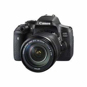 Canon Eos 750D Zwart + Lens 18-135 mm + Rugzak + Geheugenkaart SD