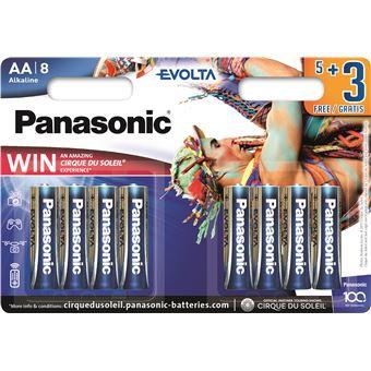 Pack 5+3 piles Panasonic Evolta LR6EGE/8B AA