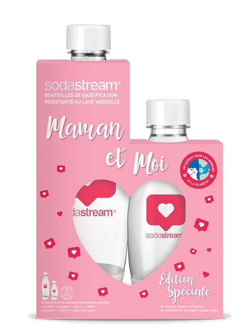 Pack de 2 bouteilles Sodastream Fête des Mères 1L et 0.5L Blanc et Rouge
