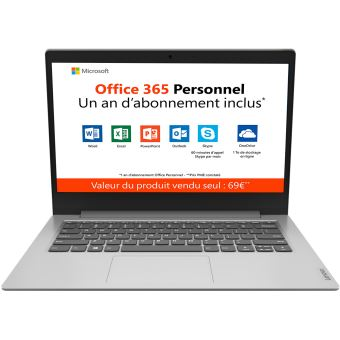 "PC Ultra-Portable Lenovo Ideapad Slim 1-14AST-05 14"" HD AMD A4-9120e 4 Go RAM 64 Go eMMc Gris platine + Office 365 Personnel 1 an inclus"
