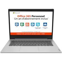 "PC Ultra-Portable Lenovo Ideapad Slim 1-14AST-05 14"" HD AMD A4-9120e 4 Go RAM 64 Go eMMc Gris platine + Office 365 Personnel 1 an inclus"
