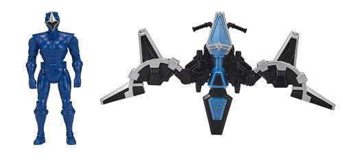 Power Rangers Ninja Steel Power Rangers Mega Morph hélicoptère avec 5 pouces Bleu Gamme