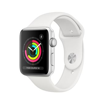 Apple Watch Series 3 42mm kast Aluminium Silver + White Sportband