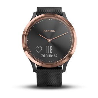 Montre connectée hybride Garmin Vivomove HR Or rose avec Bracelet Noir Taille S et M
