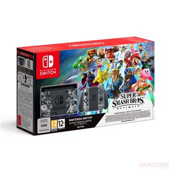 Console Nintendo Switch Edition Super Smash Bros Ultimate avec paire de joycons + code de téléchargement super Smash Bros Ultimate
